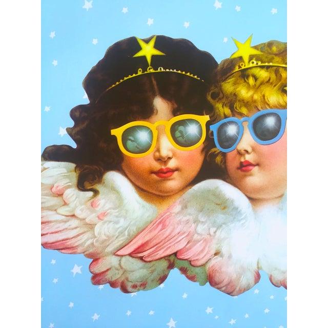 1980s Vintage 1980 Rare Fiorucci New Wave Italian Fashion Iconic Cherub Angels Post Modern Pop Art Poster For Sale - Image 5 of 9