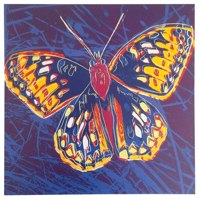 """Andy Warhol Estate Rare Vintage 1992 Endangered Species Collector's Lithograph Print """" San Francisco Silverspot Butterfly """" 1983 For Sale"""