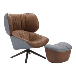 B&b Italia Tan Leather & Light Blue Fabric Covered Swivel Lounge Chair + Ottoman For Sale