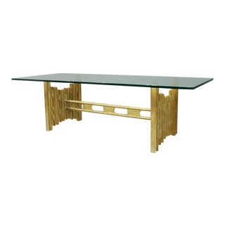 Brutalist Coffee Table in Metal and Glass, 1960s For Sale