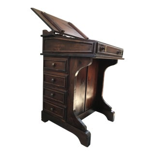 19th Century Nautical Oak 8-Drawer Writing Desk For Sale
