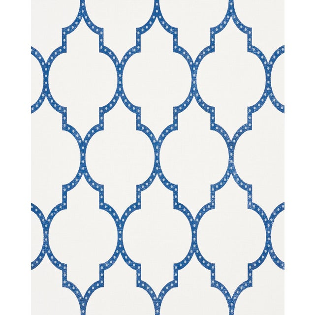 Contemporary Schumacher Algier's Paperweave Wallpaper in Blue For Sale - Image 3 of 3