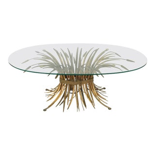 Italian Wheat Sheaf Oval Low Table of Gilt Metal and Glass For Sale