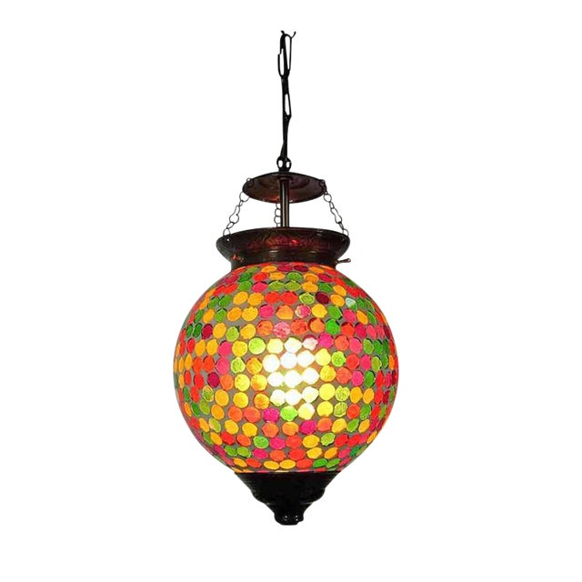 Multicolored Mosaic Globe Lantern - Image 1 of 3