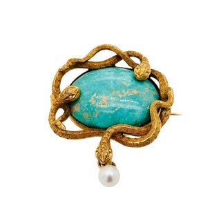 Art Nouveau 14k Gold Turquoise Triple Snake Brooch For Sale