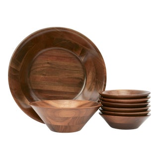 Mid-Century Walnut Serving Bowls - Set of 8