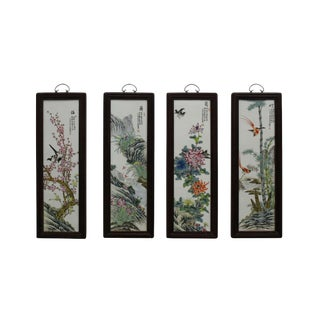 Chinese Color Porcelain Flower Birds Wood Wall Panels Set For Sale