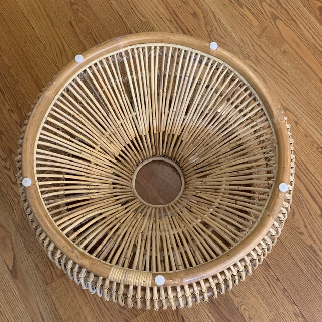 Tan Franco Alibini Style Round Rattan Ottoman Side Table For Sale - Image 8 of 12