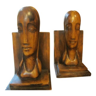 Mid-Century Faux-Bois Bookends - a Pair
