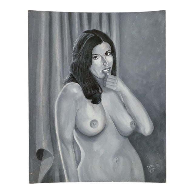 Vintage Nude Woman Oil on Canvas Painting For Sale