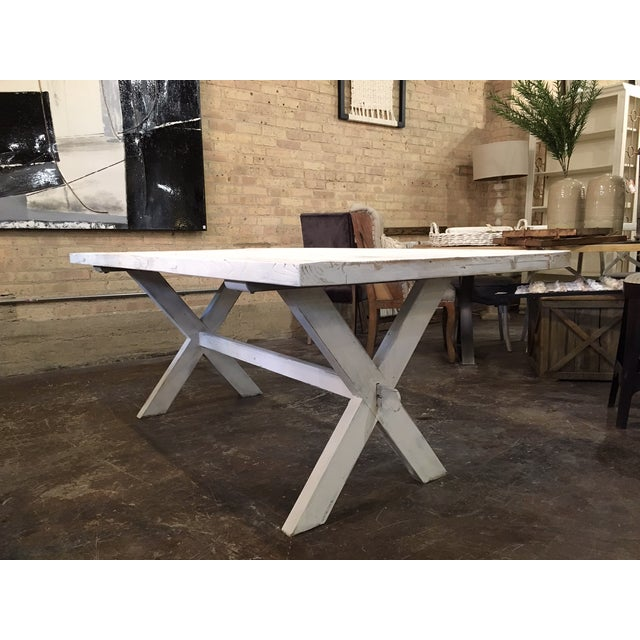 Rustic Shabby Chic White Distressed Farmhouse Dining Table For Sale - Image 3 of 10
