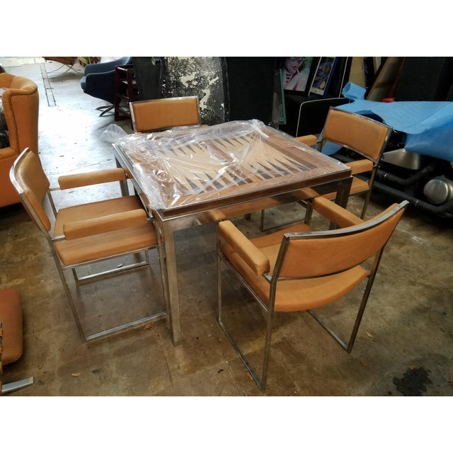 1970s 1970's Signed Willy Rizzo Gaming Table & Chairs For Sale - Image 5 of 13