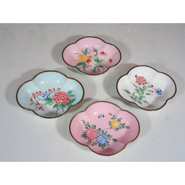 Asian Floral Chinese Enamel Bowls - Set of 4 For Sale - Image 3 of 9
