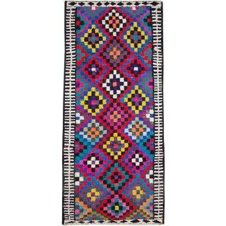"Vintage Persian Flatweave Kilim Rug – Size: 5' 11"" X 11' 1"" For Sale"