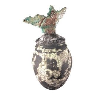 1980s Vintage Ceramic Artistic Vase & Cover - 2 Pieces For Sale