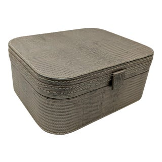 Leather Decorative Box With Metallic Snake Skin Embossing For Sale