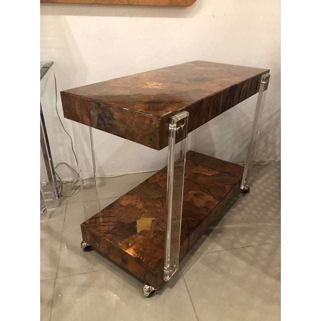 Vintage Brutalist Copper Brass Mixed Metals Patchwork Lucite Bar Cart For Sale - Image 12 of 13