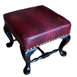 Vintage Red Alligator Leather Designer Footstool Ottoman
