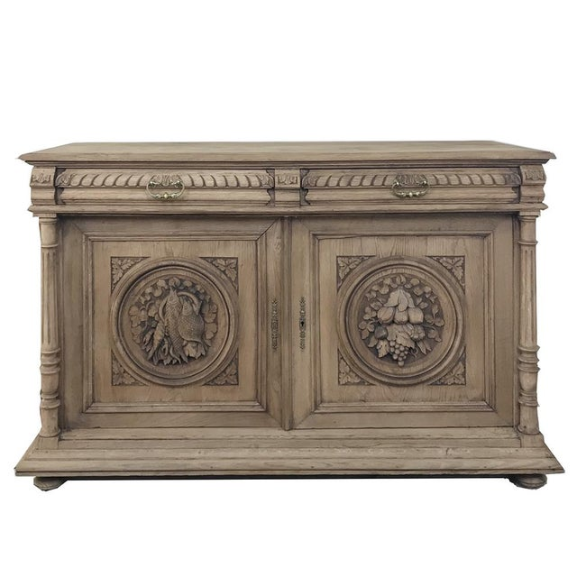 19th Century French Renaissance Stripped Oak Buffet For Sale - Image 13 of 13
