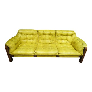 Vintage Mid Century Modern 3 Seat Gold Vinyl Sofa For Sale