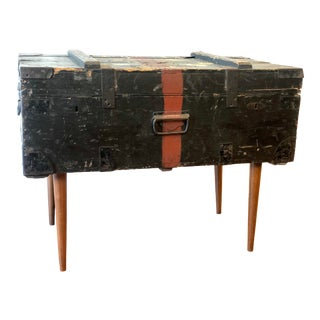 Antique English Military Trunk With Legs For Sale