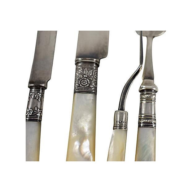 Engraving Assorted 19th -C. English Pearl Handled & Silver Serving Flatware, a Mixed S/9 For Sale - Image 7 of 12