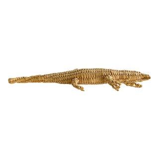 Vintage Rattan Woven Alligator Figure For Sale