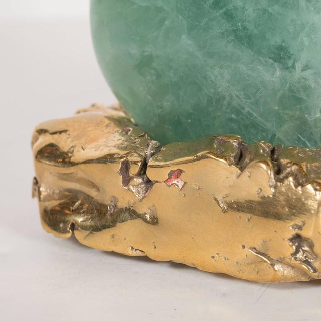 Polished Green Agate Specimen Resting on a Custom Brutalist Bronze Base For Sale In New York - Image 6 of 8