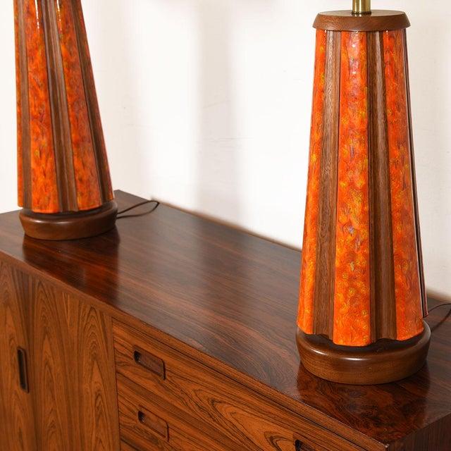 Mid-Century Walnut & Orange Enamel Lamp's, Pair For Sale In Washington DC - Image 6 of 10