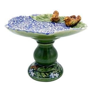 20th Century Magnolia Blue Hydrangea and Birds Pedestal Compote/ Dessert Stand For Sale