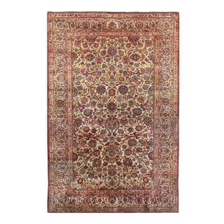 Late 19th Century Antique Persian Kashan Silk Rug - 4′4″ × 6′9″ For Sale