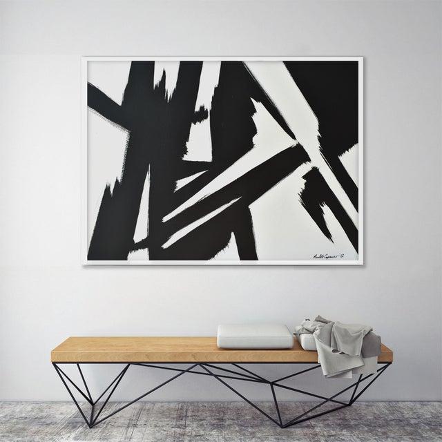 FRAMED GICLÉE PRINTS: Abstract Black & White Slash - Frame Print * FRAME: floating frame made from wood * Frame Color:...