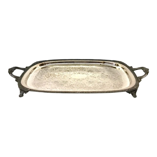 1940s Art Deco F B Rogers Silver Plate Serving Tray For Sale