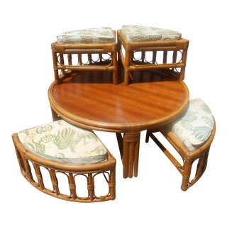 Vintage Asian Rattan Low Tea Table & Hideaway Wedge Chairs - 5 Pieces For Sale