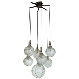 Mid-Century Modern Six Spherical Orb Chandelier W/ Organic Textured Glass For Sale