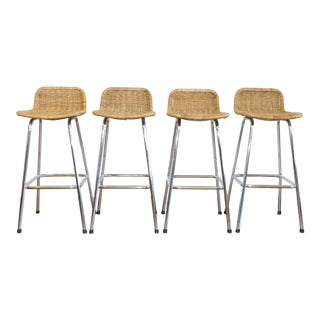 Vintage Rattan Set of 4 Bar Stools For Sale