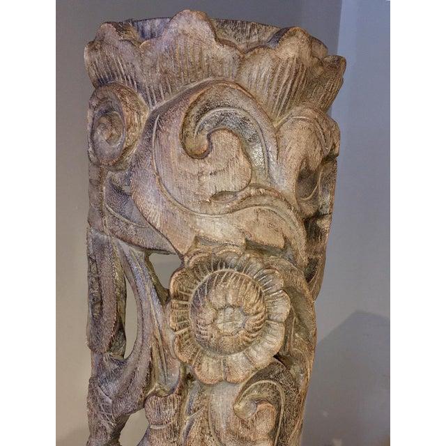 Wood 1990s Floral Totem Sculpture For Sale - Image 7 of 8