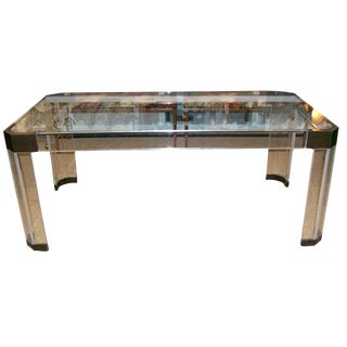 Charles Hollis Jones Thick Lucite and Bronze Dining Table For Sale
