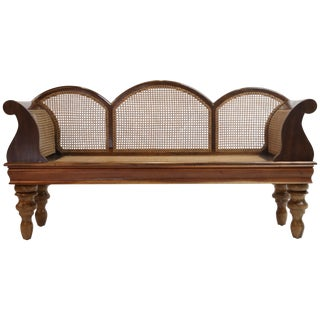 Brazilian Jacaranda Rosewood Sofa With Caning and Scrolled Arms, Circa 1930s For Sale