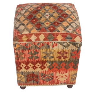 Art Deco Daina Red and Copper Kilim Upholstered Ottoman
