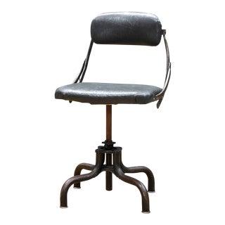 Original Upholstery Vintage Industrial Clerks Swivel Desk Chair Fritz Cross For Sale