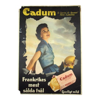 Vintage French Soap Advertisement Poster Sign in Swedish For Sale
