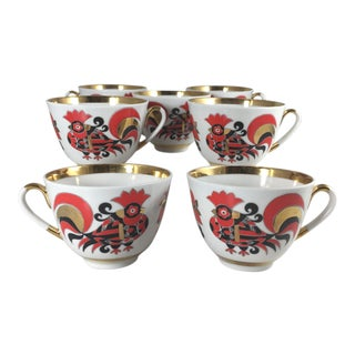 Lomonosov Porcelain Tea Cups Spring Red Cockerels - Set of 7 For Sale