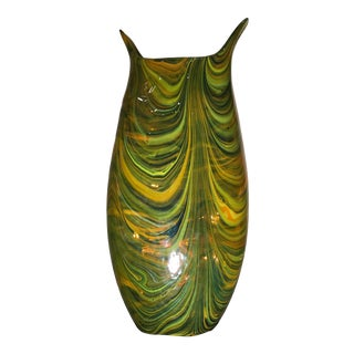 Global Views Green Marbleized Blown Glass Vase For Sale