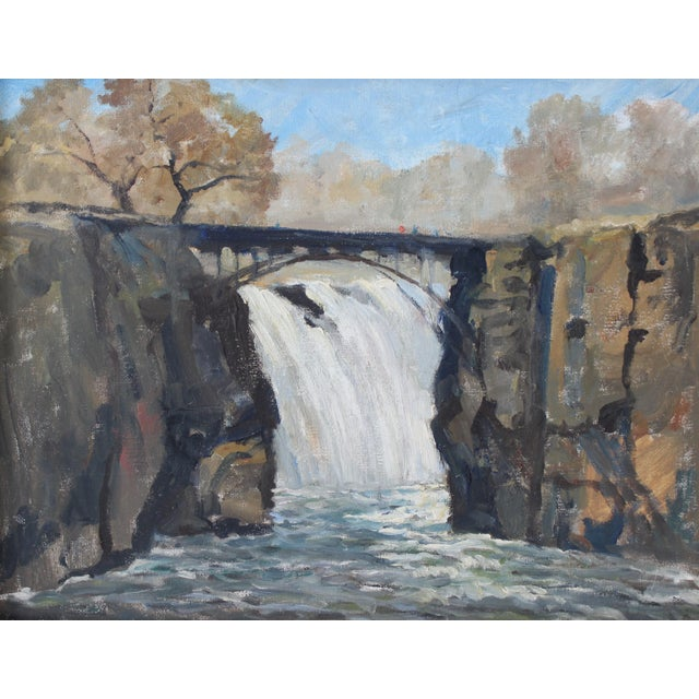"""Impressionist Oil Painting on Stretched Canvas """"Paterson Falls"""" by listed Artist John Elliot, opa. Scene is in the..."""