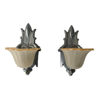Antique Art Deco Sconces With Glass Shades - a Pair For Sale