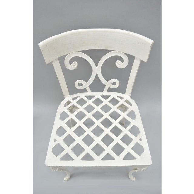 Hollywood Regency Neoclassical Regency Style Cast Aluminum Patio Chairs -  Set of 4 For Sale - - Neoclassical Regency Style Cast Aluminum Patio Chairs - Set Of 4