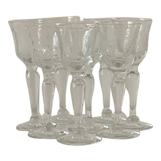 Vintage 1940's Etched Footed Stem Cordial Glasses - Set of 8 For Sale