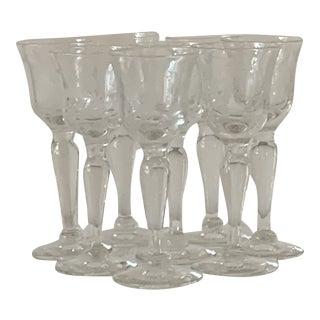 Vintage 1940's Etched Footed Stem Cordial Glasses - Set of 8 For Sale