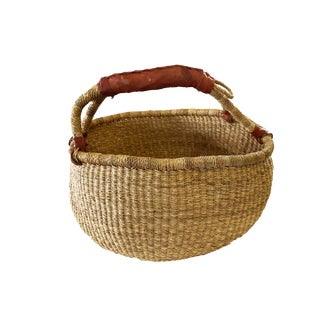 "Large African Bolga Ghana Market Basket 16""-16"" For Sale"